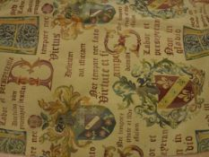 Nine pairs of cotton gold ground with heraldic script lined curtain with fixed triple pinch pleat