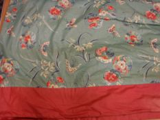 Two pairs of glazed cotton turquoise and pink chinoiserie style curtains, interlined,