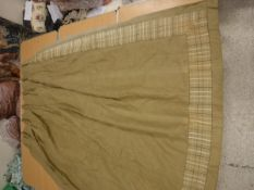 Two pairs of Noblisqu Fontain linen curtains in dark beige / olive with checked trim,