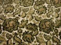 Two pairs of chenille green and beige foliate curtains, lined, with pencil pleat headings,