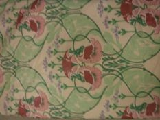 A pair of Art Nouveau Liberty type glazed cotton cream ground floral decorated lined curtains with