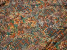 """Five pairs of Crowson Fabrics """"Palladio"""" cotton curtains, variously interlined and self lined,"""