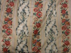 A pair of glazed cotton cream ground pink and blue floral ribbon striped curtains, interlined,