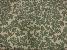 Two pairs of cotton type cream and green Classical foliate curtains, lined,