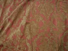 Two single chenille gold and terracotta foliate decorated curtains,