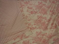 Two pairs of cotton Toile de Jouy pink and cream interlined curtains with fixed triple pinch pleat