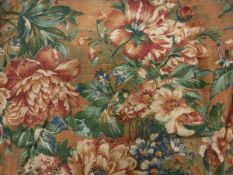 Two pairs of linen type flower and foliate decorated,