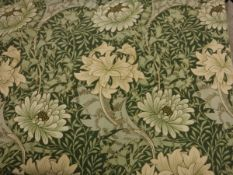 Two pairs of linen Sanderson's William Morris Chrysanthemum pattern curtains in green, lined,