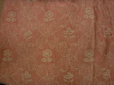 A pair of cotton peach ground with stylised trellis and flower decoration curtains, interlined,