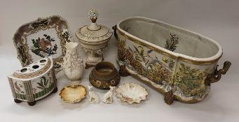 A collection of various china wares including a Royal Doulton silicon ware vase,