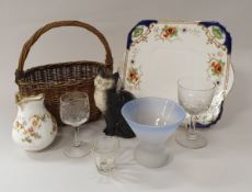 Two boxes of sundry china and glass ware to include decorative tea set, etc,
