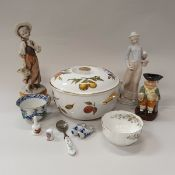 """A box containing assorted china wares to include a Royal Doulton """"Happy John"""" Toby jug,"""