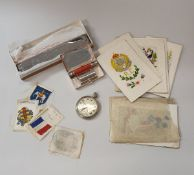 """A collection of ephemera and sundry items to include WWI silk greeting cards inscribed """"Birthday"""