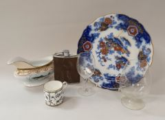 Two boxes of sundry china and glass wares to include Hammersley black and white floral decorated