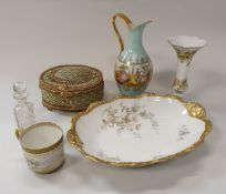 Two boxes of assorted decorative china wares,