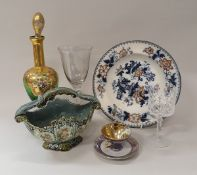 Four boxes of assorted china, clocks, small decorative chest of drawers,