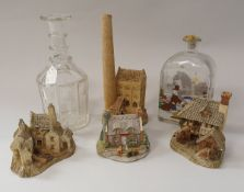 A box of assorted David Winter and Liliput Lane houses,