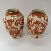 """A pair of Meiji period Japanese kutani vases """"100 Sages"""" design bearing three character mark to"""