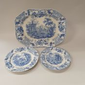 """A pair of circa 1840 Staffordshire pottery blue and white """"Morea"""" pattern stone china meatplates"""