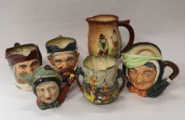 """A Royal Doulton Series ware golfing jug (D5716), a character jug """"Toothless Granny"""","""