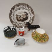 A box of various china wares to include transfer decorated plates depicting British lakes,