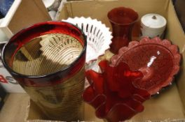 A box containing various studio glass vases, pottery etc.