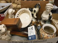 Two boxes of sundry china and ornamental wares to include capo-di-monte style figure group,