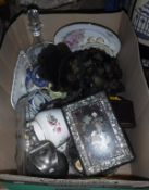 A box of various china wares and glass wares, plated water jug, glass decanter,
