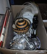 A box of sundries including various china wares, Staffordshire Dalmatian figure, Bisto china plates,