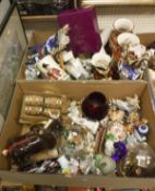Two boxes of various china wares to include a pair of circa 1900 Kutani vases,