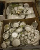 Two boxes of Denby Troubadour pattern dinner and tea wares various,