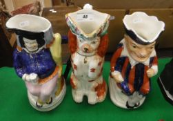 A 19th Century character jug as a seated Falstaff, another as Mr.