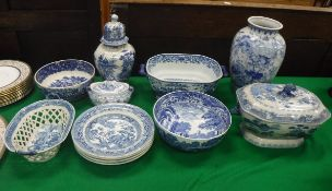 A collection of various blue and white china to include transfer decorated chestnut basket,