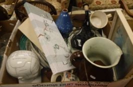 Two boxes of glass and china wares to include two vintage wine bottles,