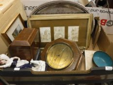 A box of sundries to include a 19th Century rosewood tea caddy,
