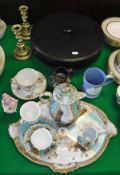 A Carl Thieme Potschappel teacup, saucer, cream jug and water jug with matching tray,