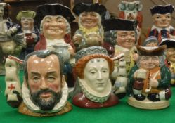 A collection of five various Royal Doulton character jugs including Jolly Toby, Happy John,