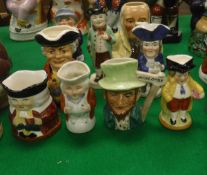"Nine various miniature character jugs including Crown Devon ""Butlers"", Wedgwood & Co."