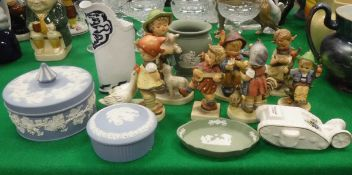 A collection of seven Goebel Hummel figures, four various items of Wedgwood Jasper ware,