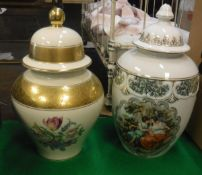 A Rosenthal floral spray and gilt banded baluster shaped vase and cover,