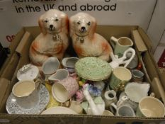 Two boxes of various china wares to include Staffordshire style Spaniels, coffee cans, posies, jugs,