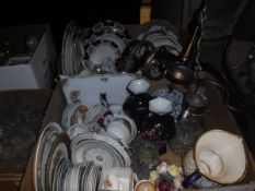 "Two boxes of various china wares to include 19th Century ""Wild Rose"" border pottery saucers and"