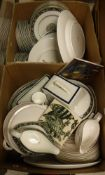 "A Wedgwood ""Runnymede"" dinner service, 12 place setting with plates, various tureens, sauceboat,"