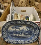 "A box containing various decorative plates and serving dishes including a stoneware ""Wild Rose"""