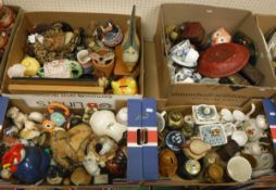 Six boxes of various china wares and ornaments to include teapots, animal figures, plates,