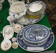 A collection of various china wares to include Minton's blue and white tureen and cover and
