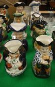 A collection of eight various 20th Century Toby and other character jugs (8)
