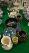 "A collection of various china and ornaments including Mason's ironstone ""Paynsley"" three piece tea"