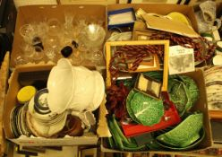 Six boxes of miscellaneous household china and glass to include cabbage plates,