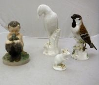 """A Meissen figure of a """"Sparrow"""", bearing blue crossed swords marks and No'd."""